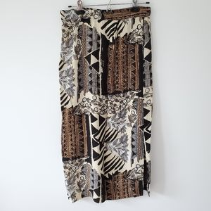 Vintage midi skirt - floral and geometric design